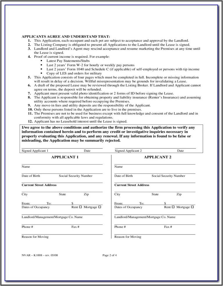 Glvar Rental Application Form