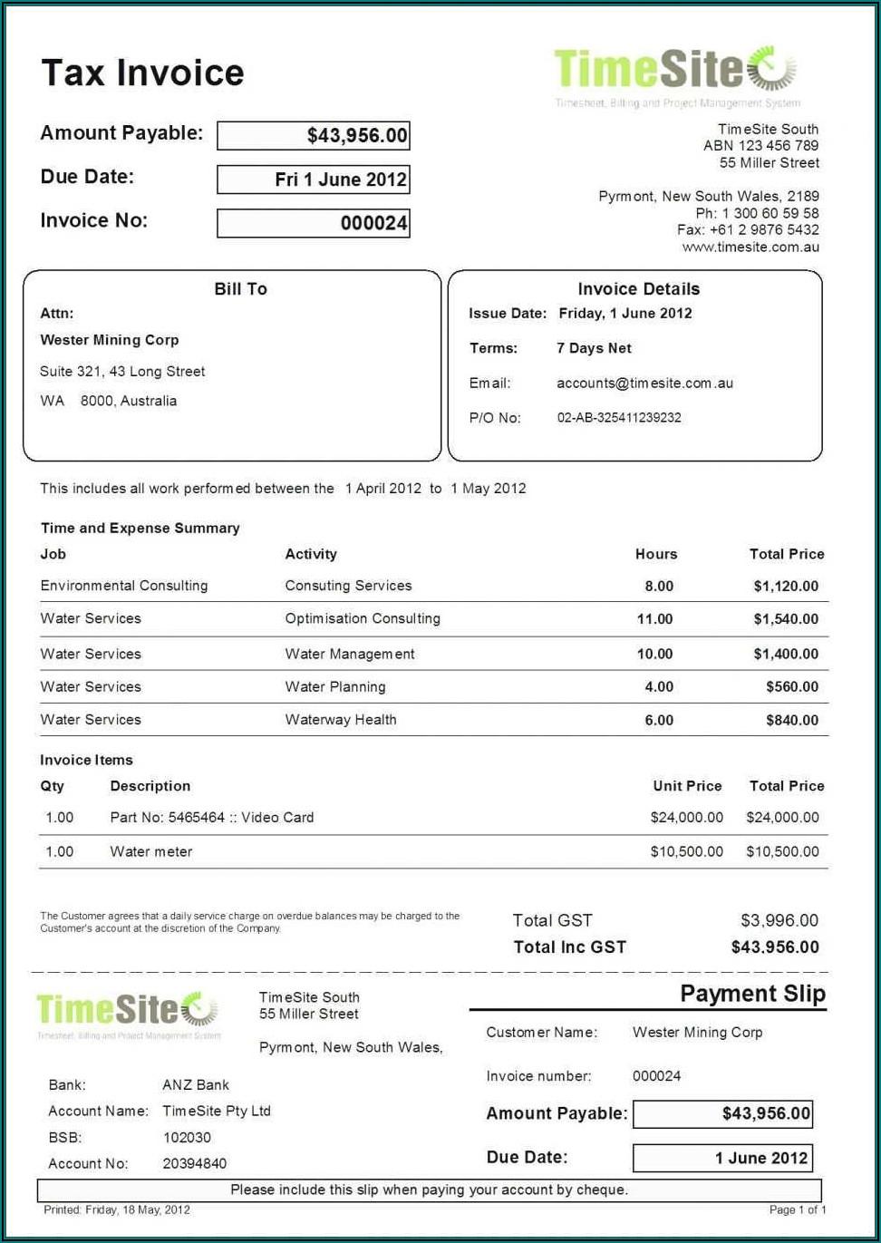 Gst Tax Invoice Template Australia