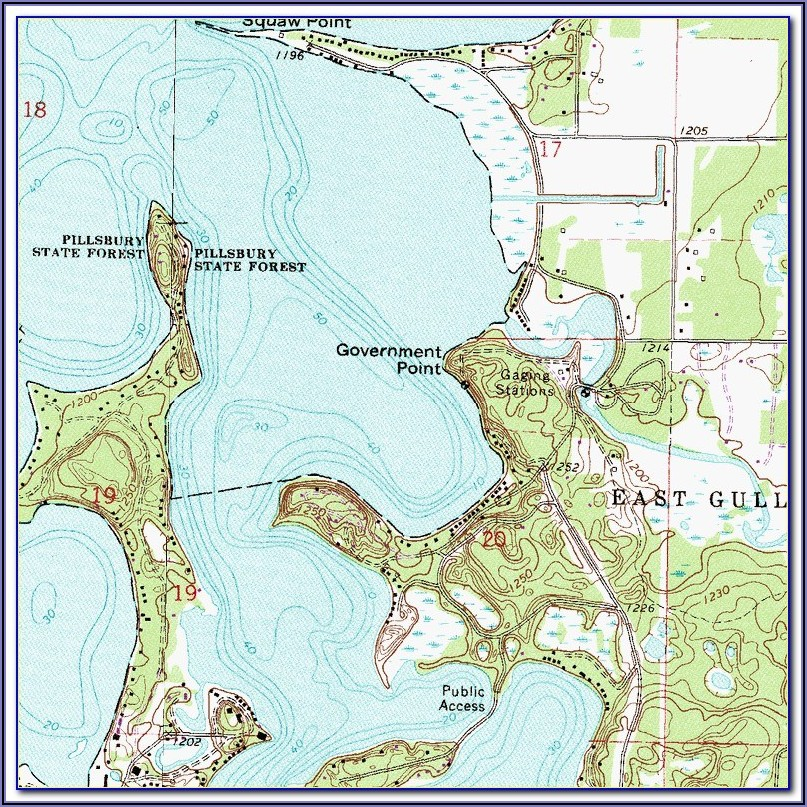 Gull Lake Contour Map