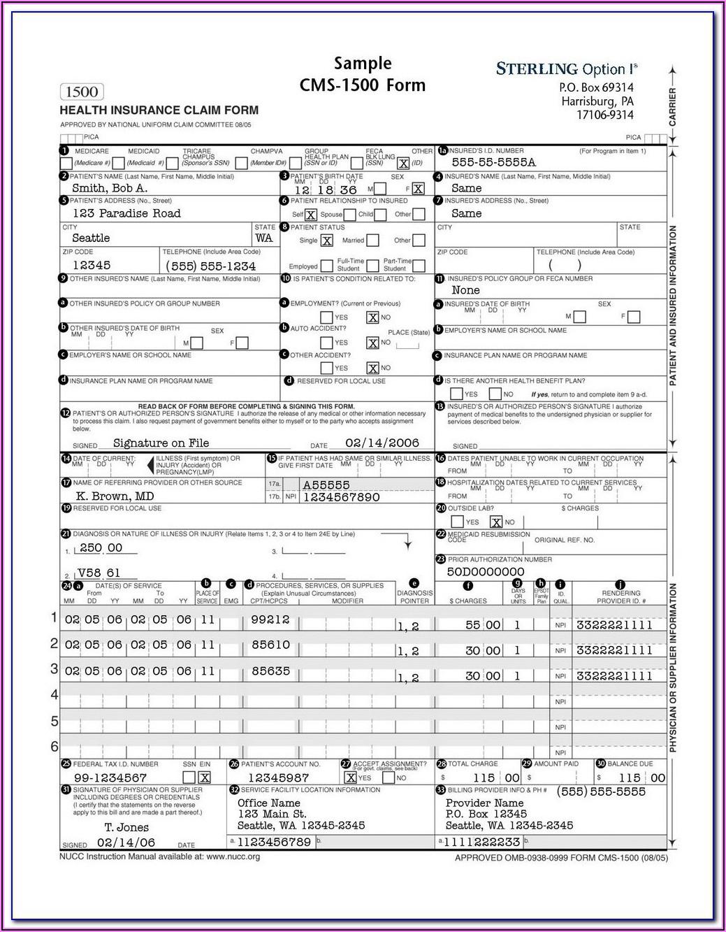 Health Insurance Claim Form Hcfa 1500