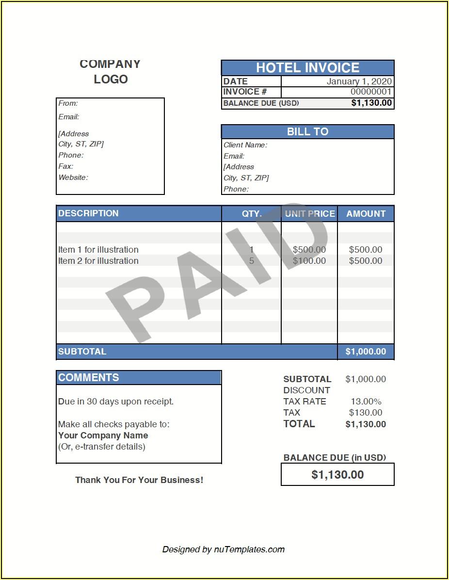Hilton Hotel Invoice Copy