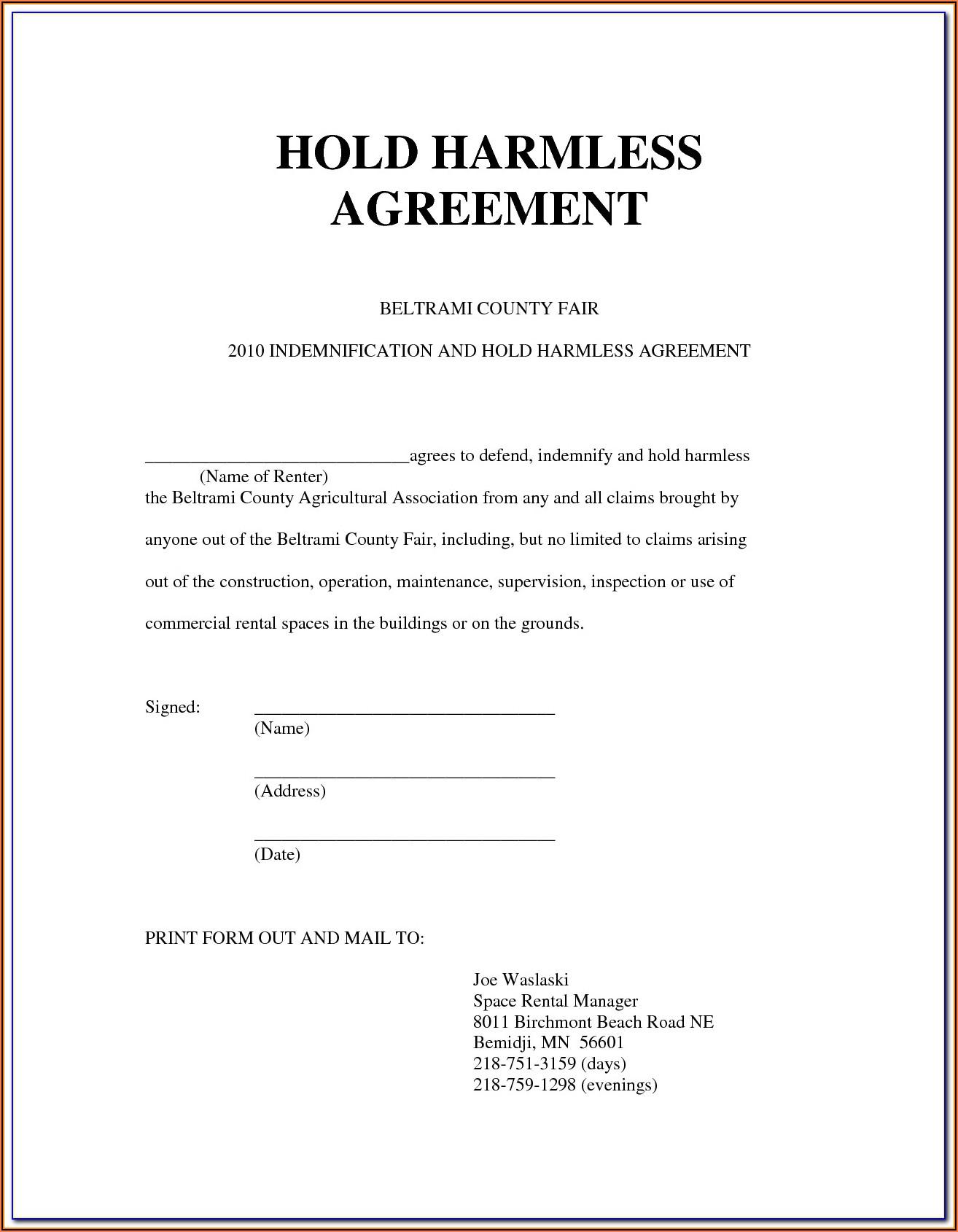 Hold Harmless Agreement Template Food