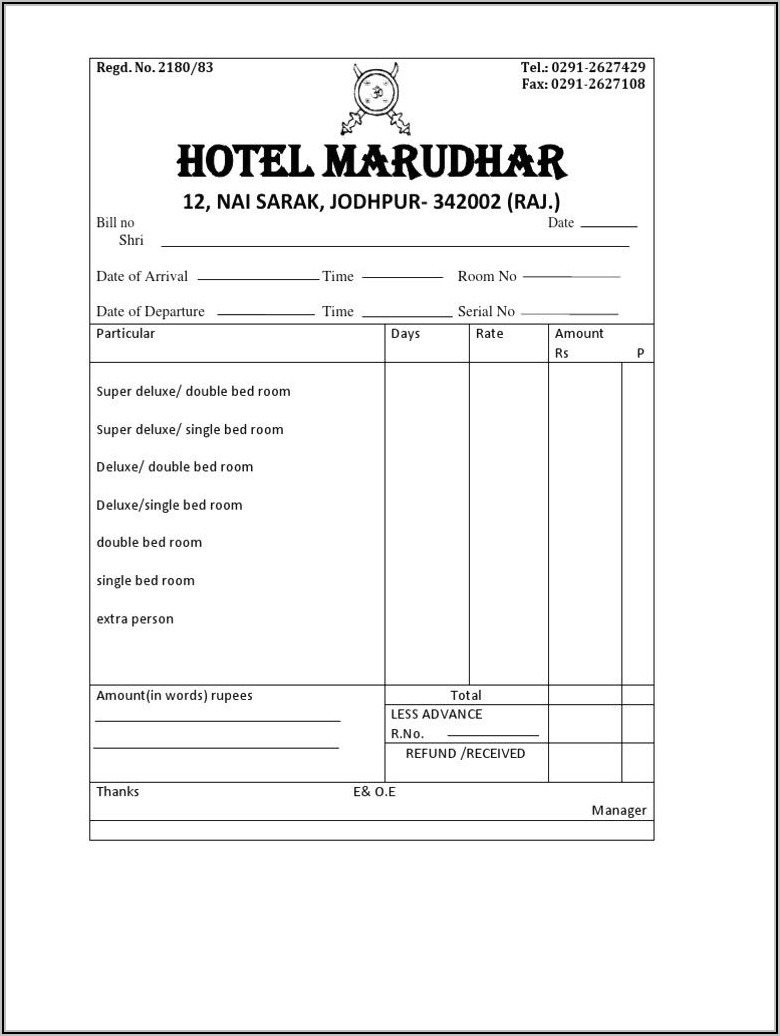 Hotel Bill Format In Word Document Free Download