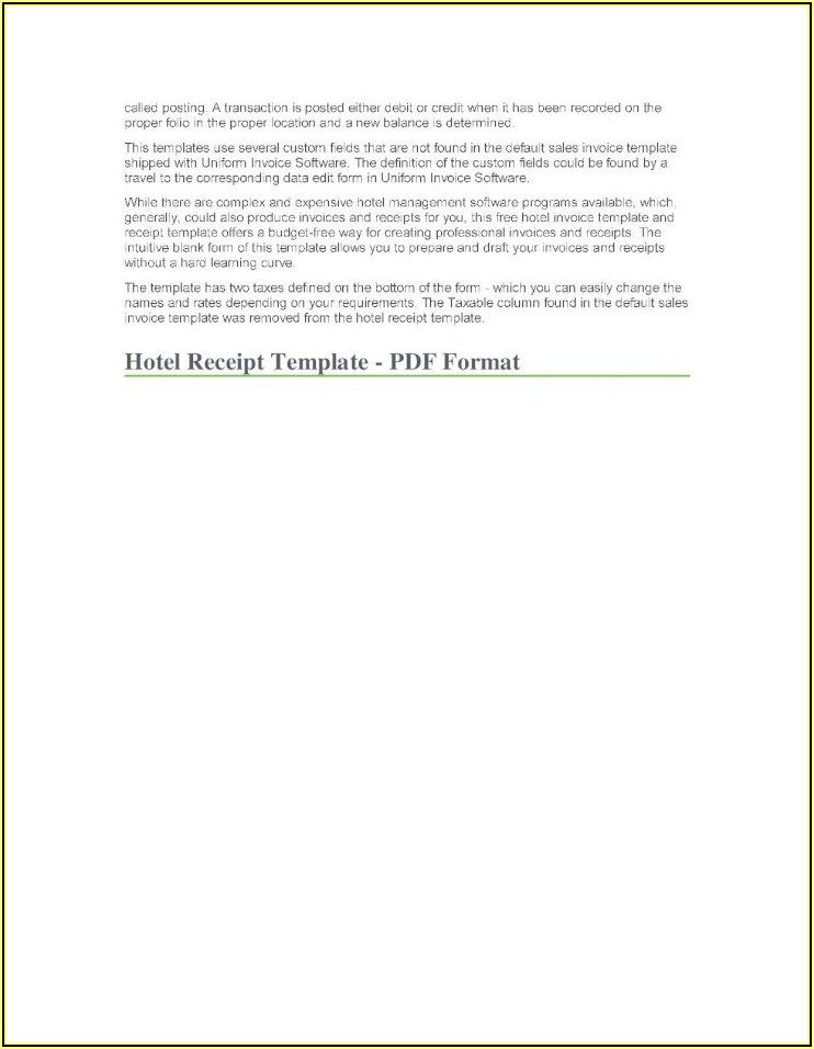 Hotel Invoice Format Pdf