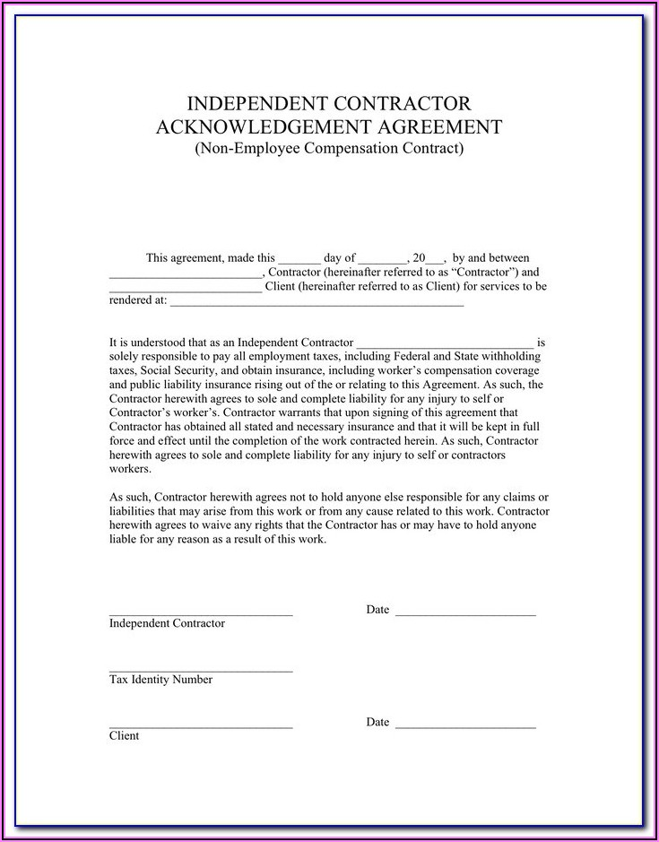 Independent Contractor Acknowledgement Form