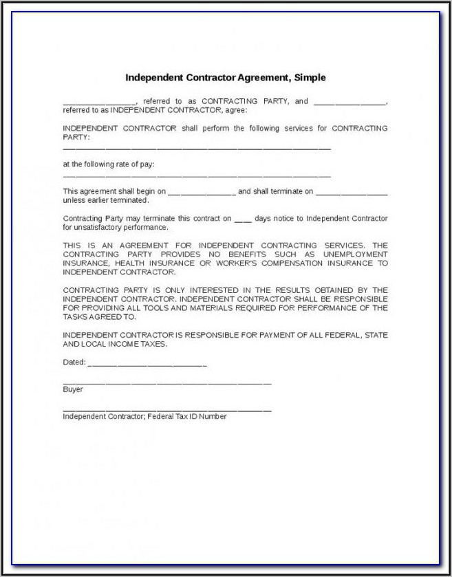 Independent Contractor Invoice Template Free Download