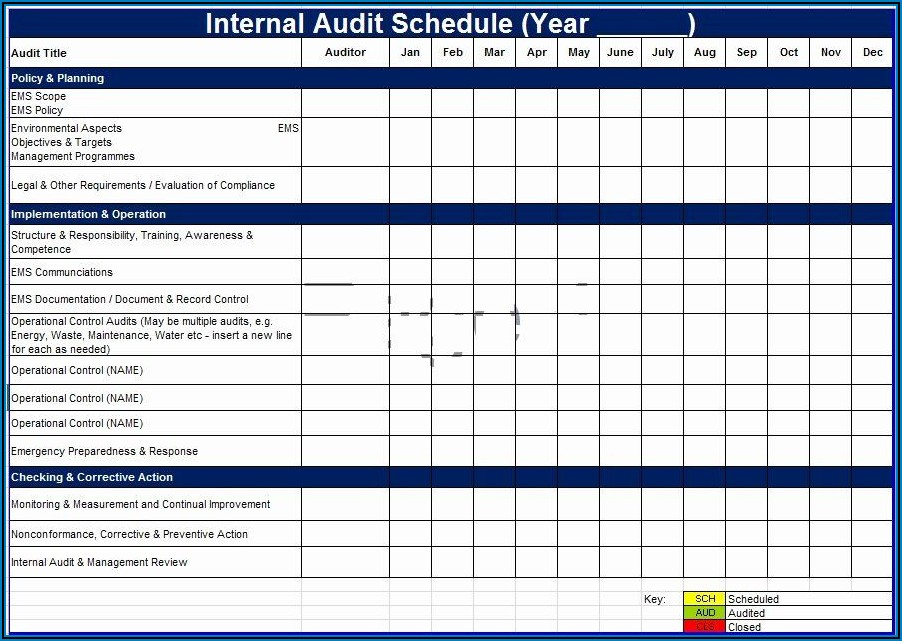 Internal Audit Schedule Templates