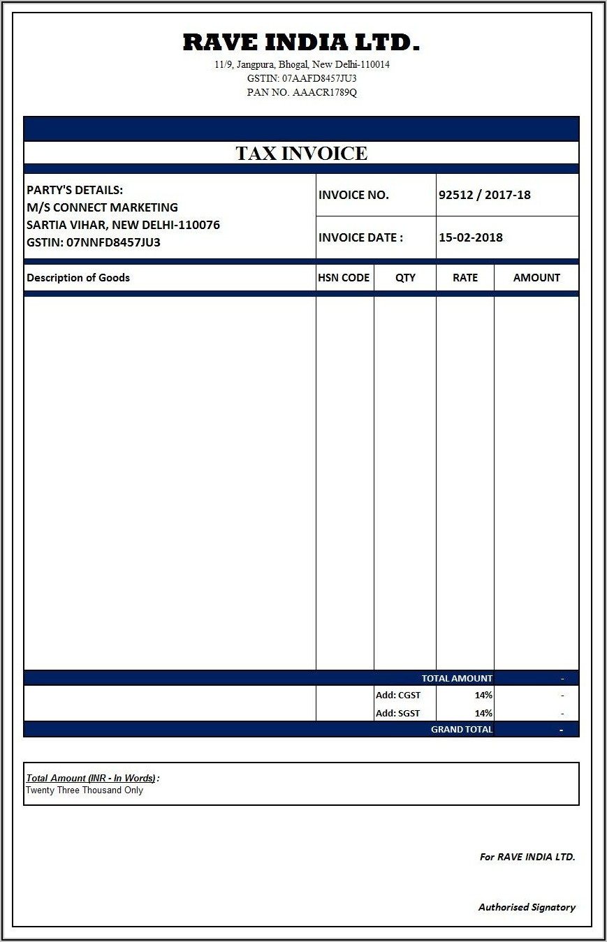 Invoice Format In Word Free Download Indian