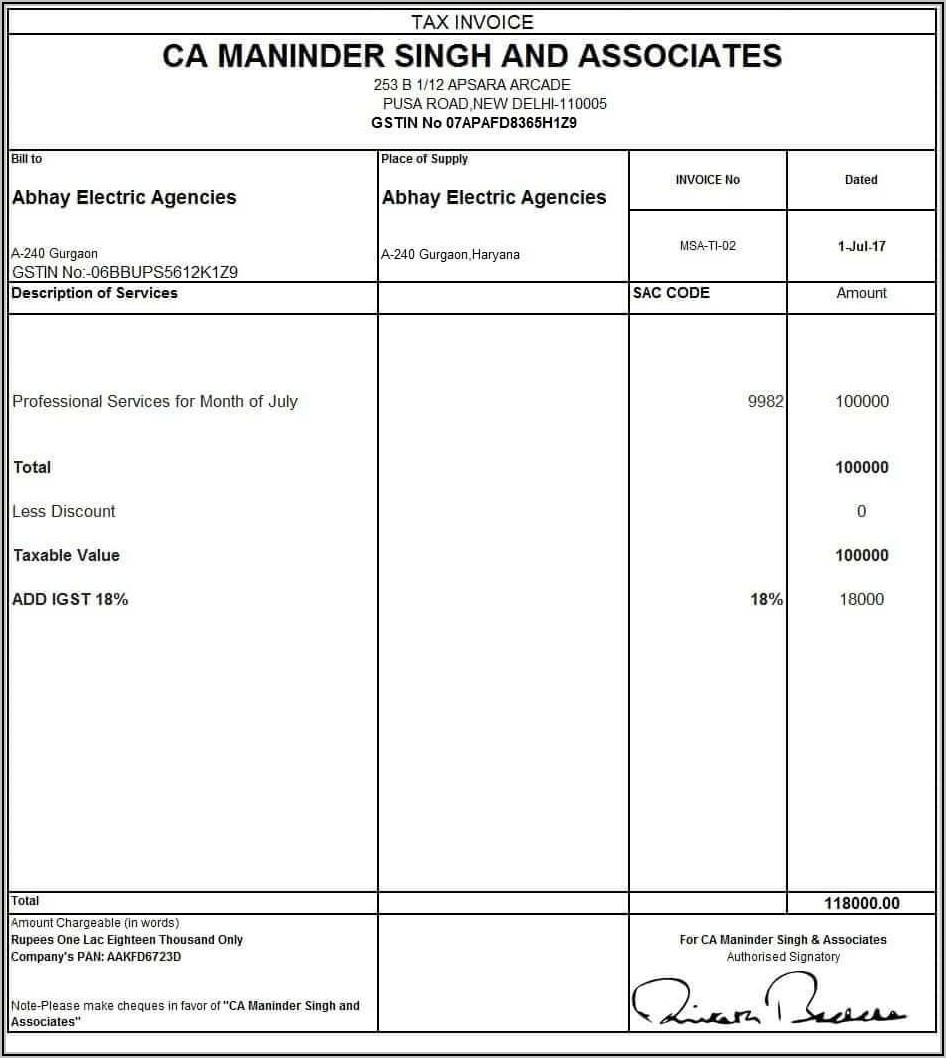 Invoice Format In Word Gst