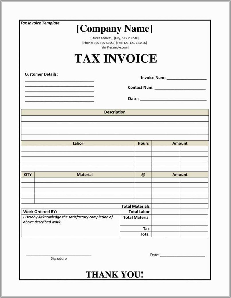Invoice Format In Word With Gst