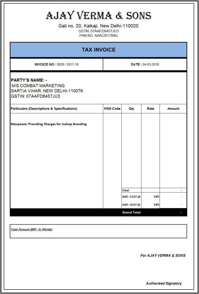 Invoice Format In Word