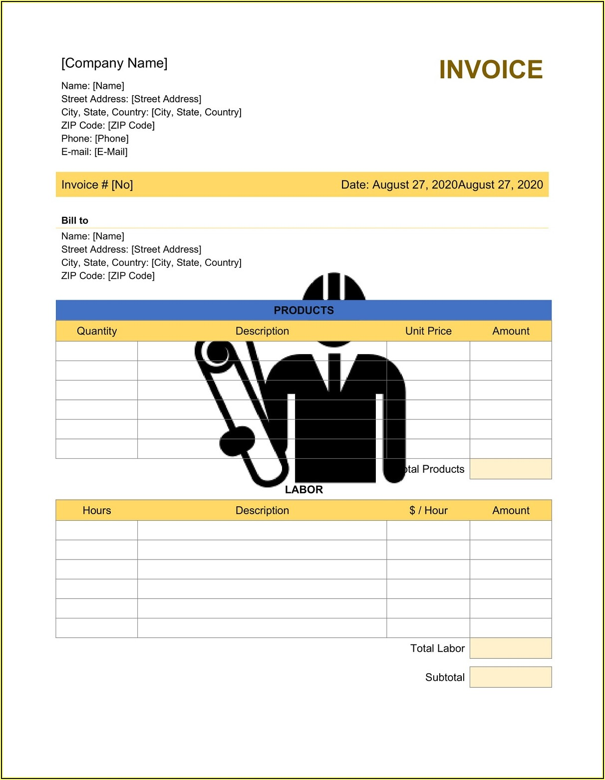 Invoice Template 1099 Contractor