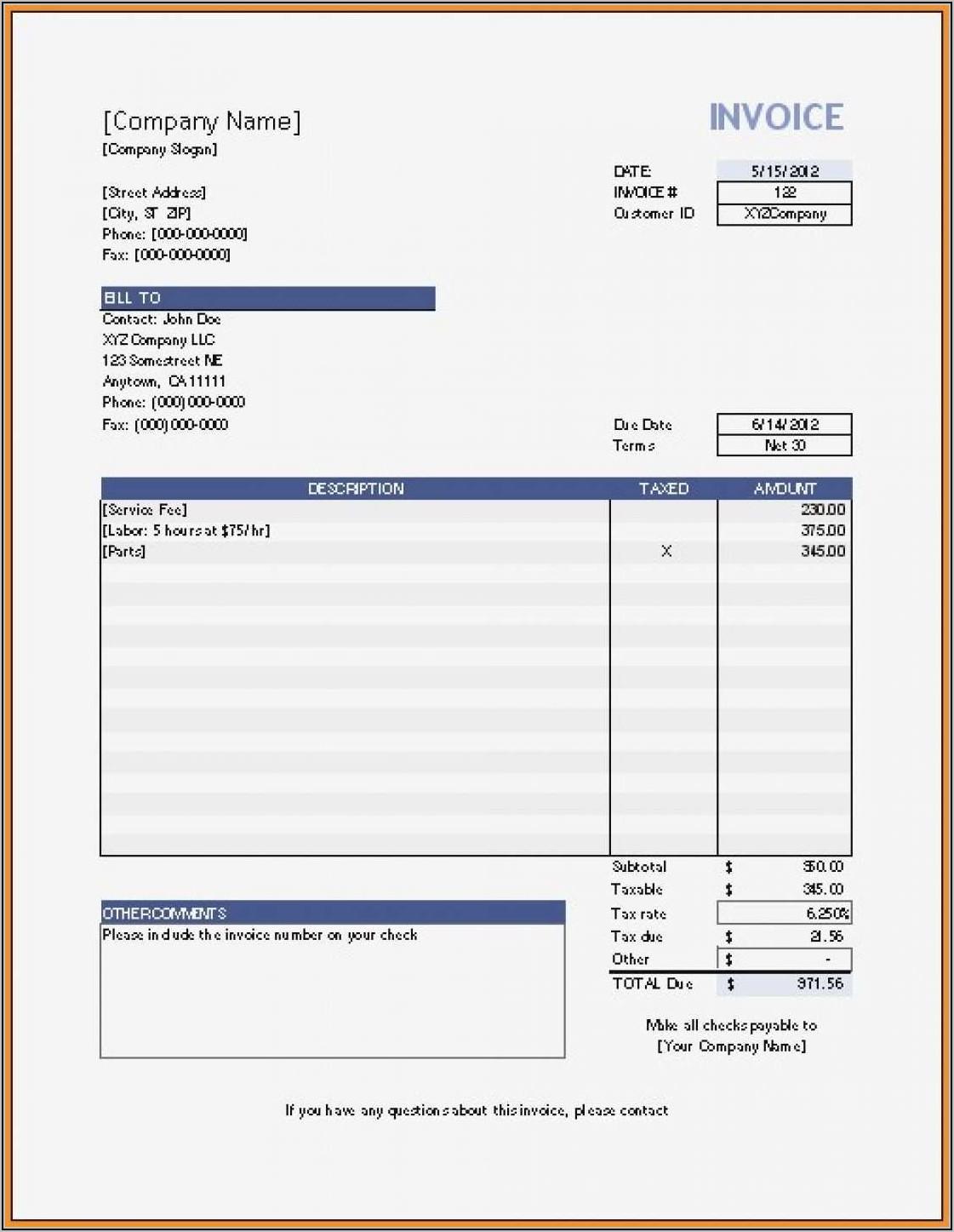 Invoice Template Free Printable