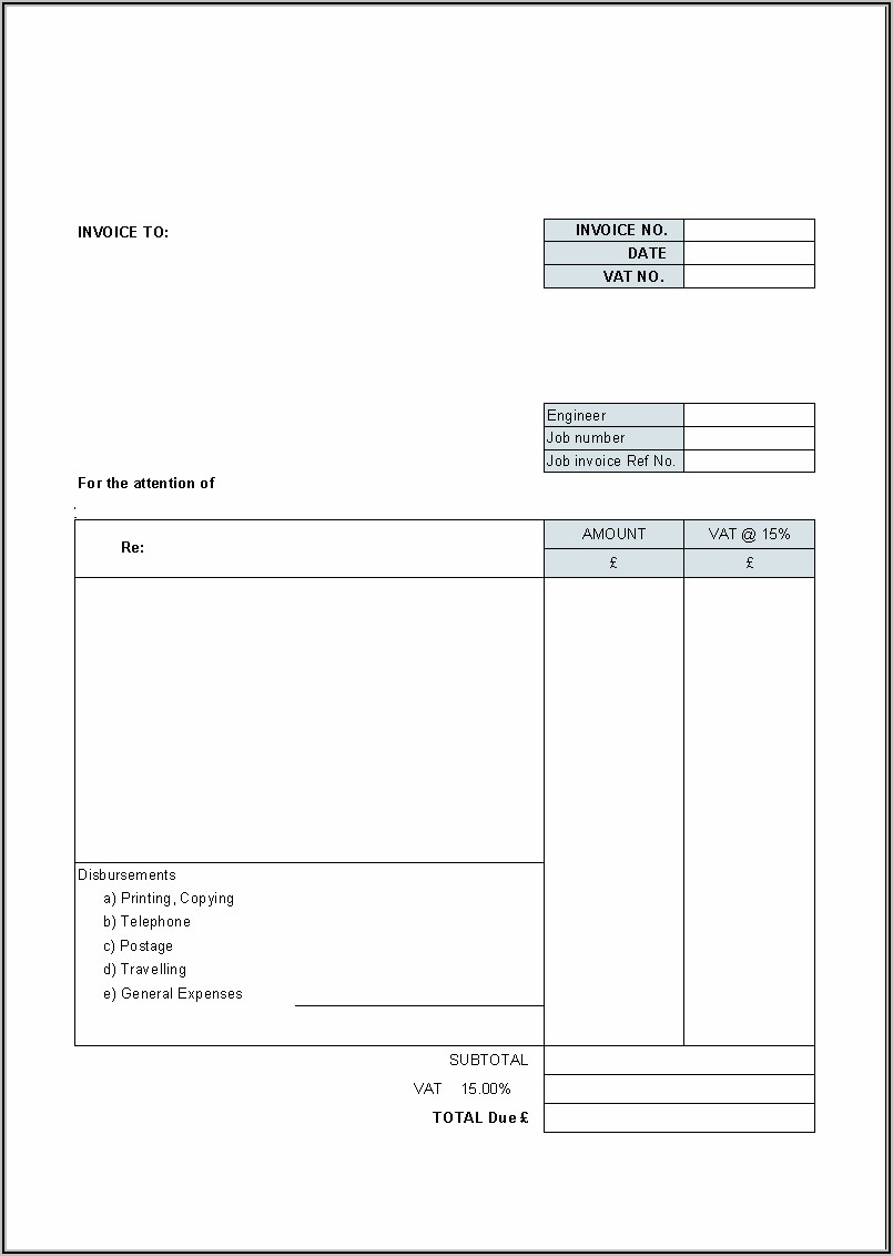 Invoice Template Free Uk Printable