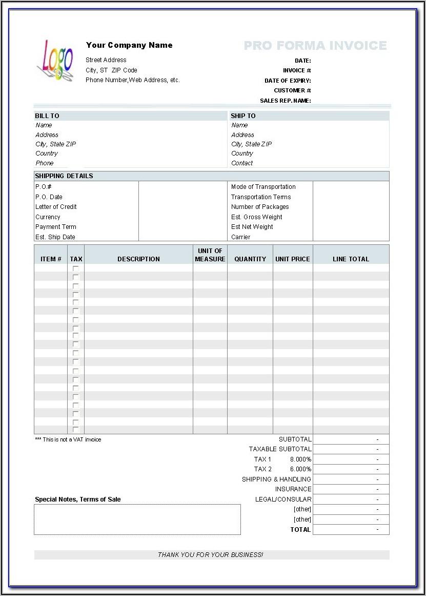 Invoice Templates Printable Free Word Doc