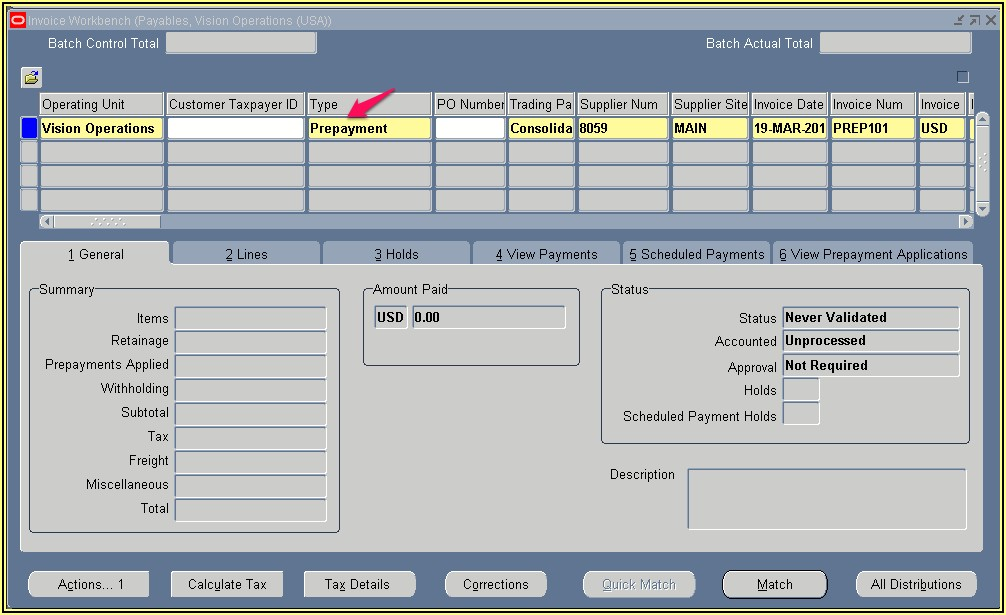 Invoice Validation Process In Oracle Payables