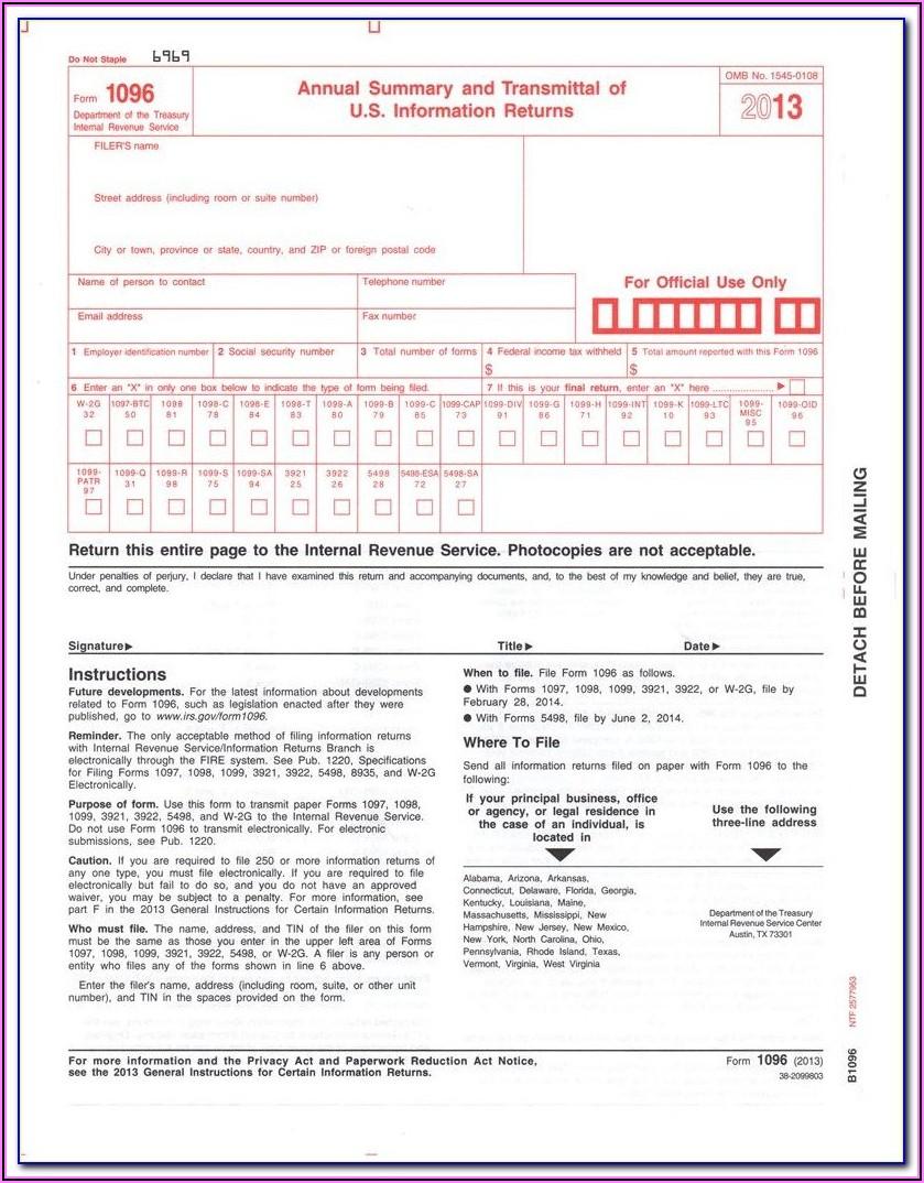 Irs 1096 Form 2019 Printable