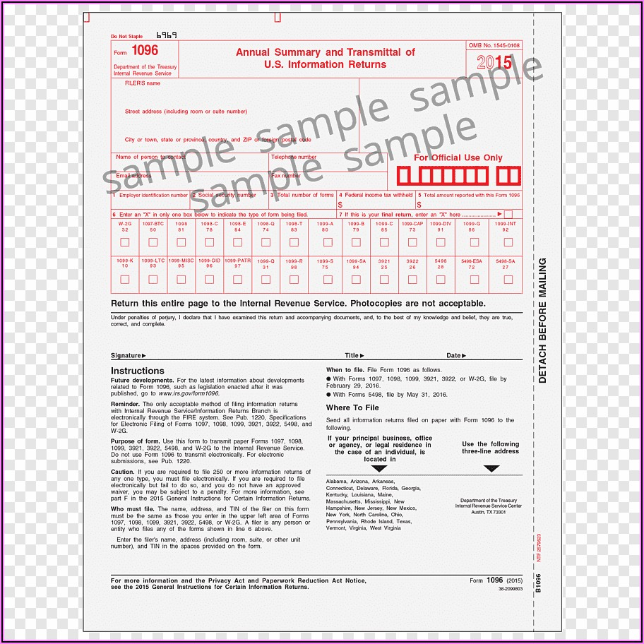 Irs 1096 Forms