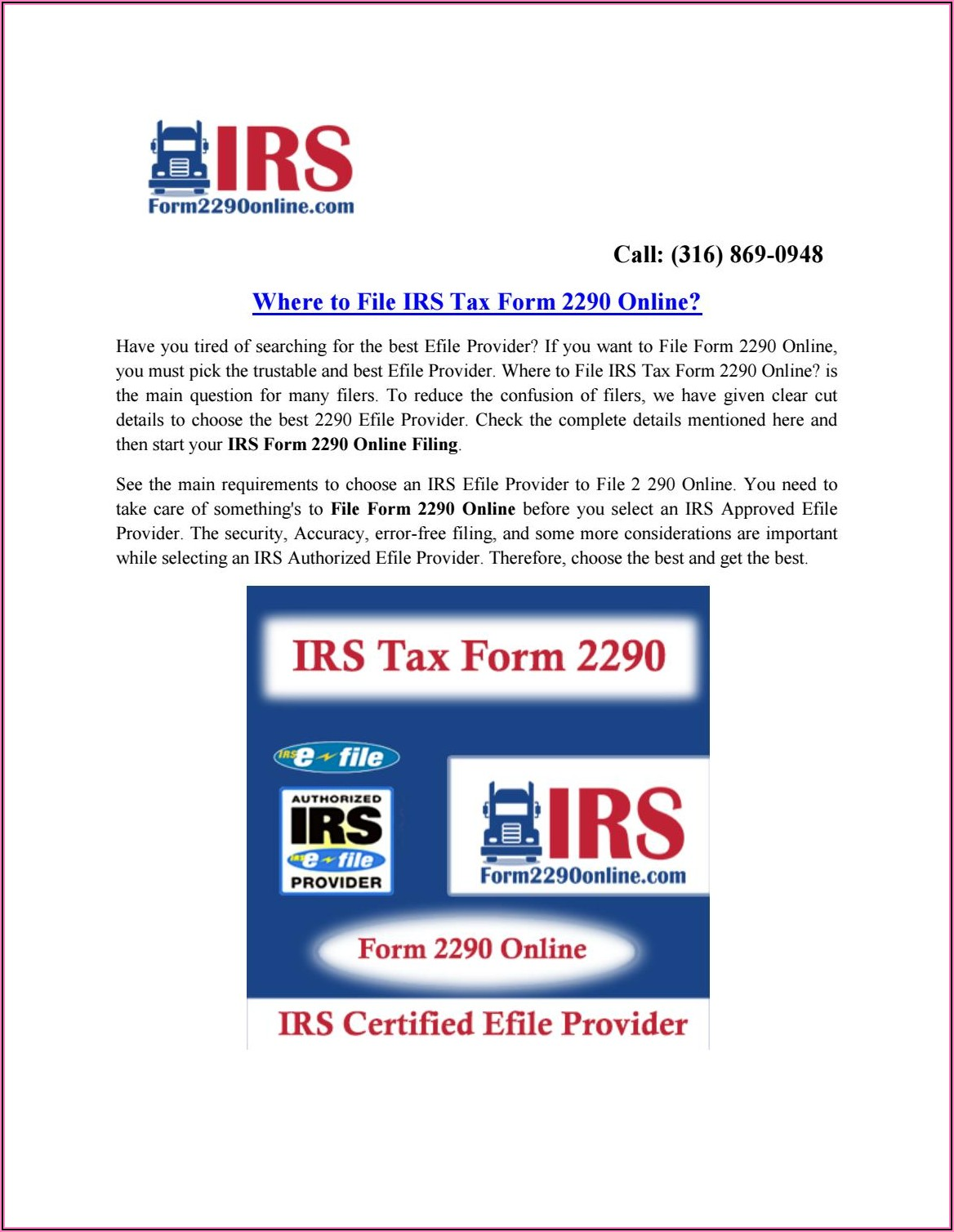 Irs Form 2290 Pay Online