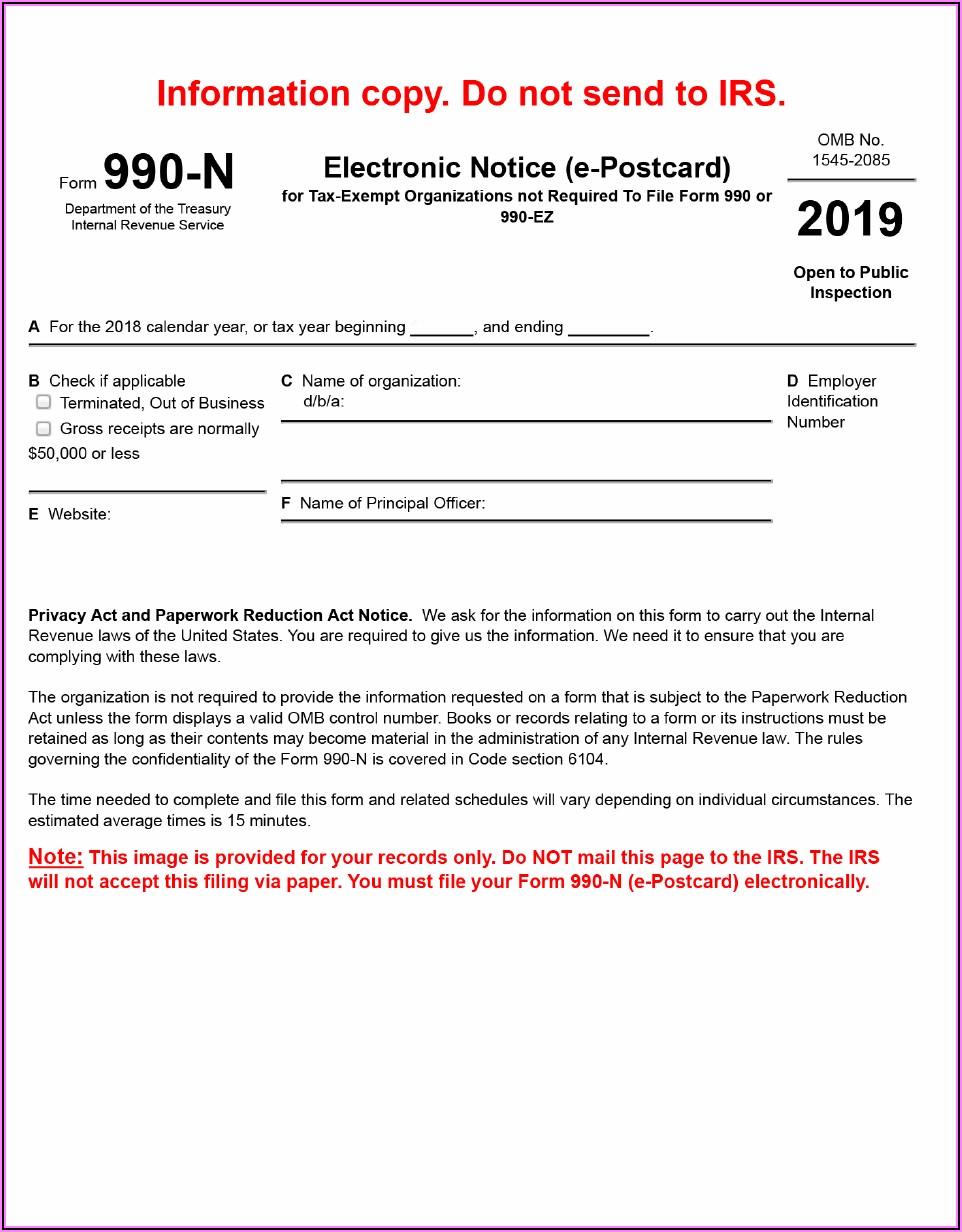 Irs Form 990 N Pdf