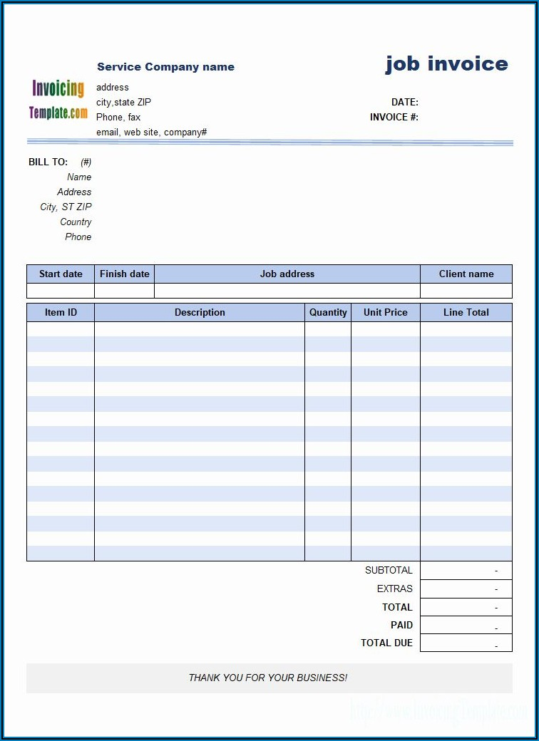 Job Invoice Template Word