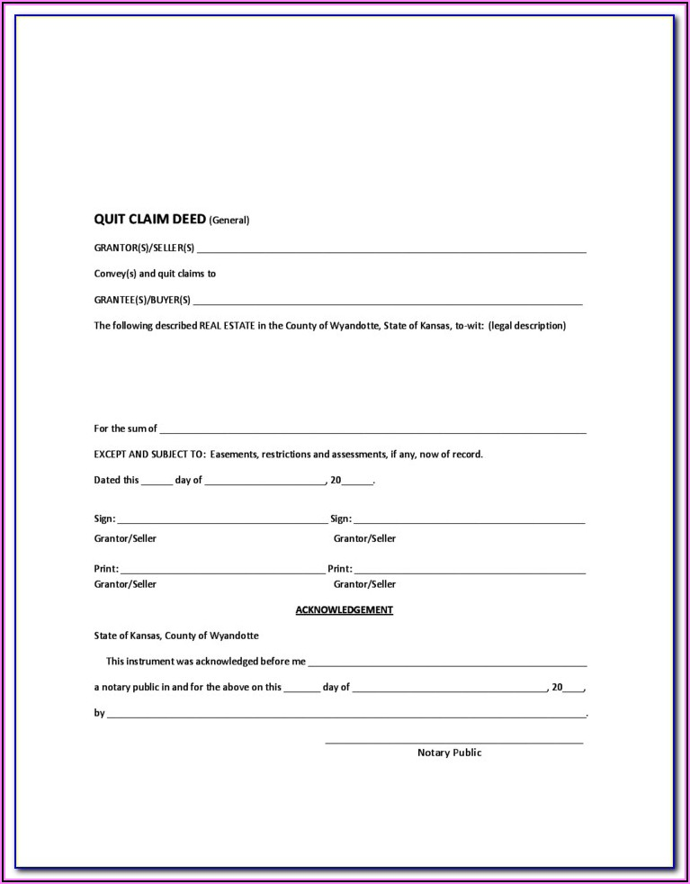 Johnson County Kansas Quit Claim Deed Form