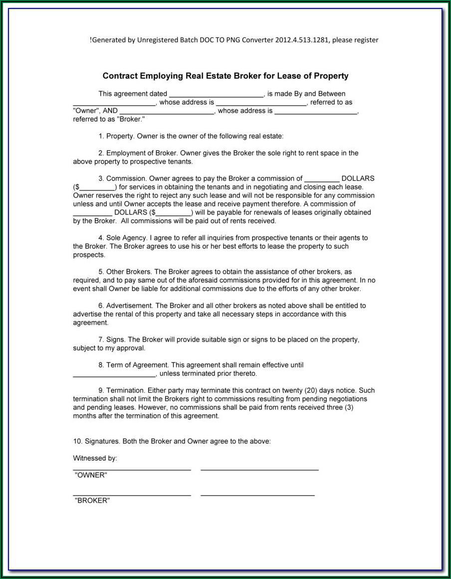 Lease Brokerage Agreement Form
