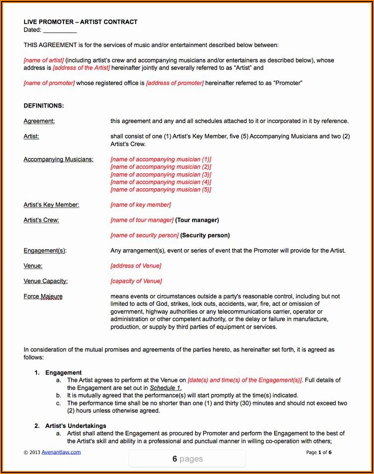 Live Music Performance Contract Template