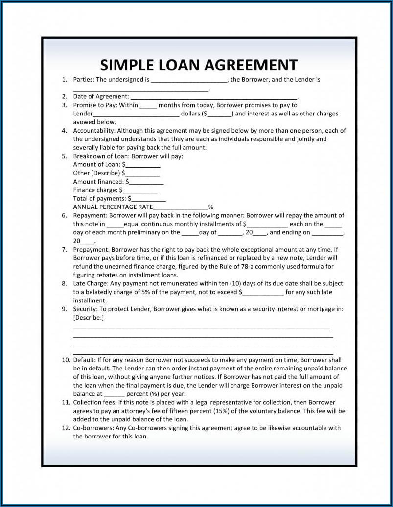 Loan Agreement Template Pdf