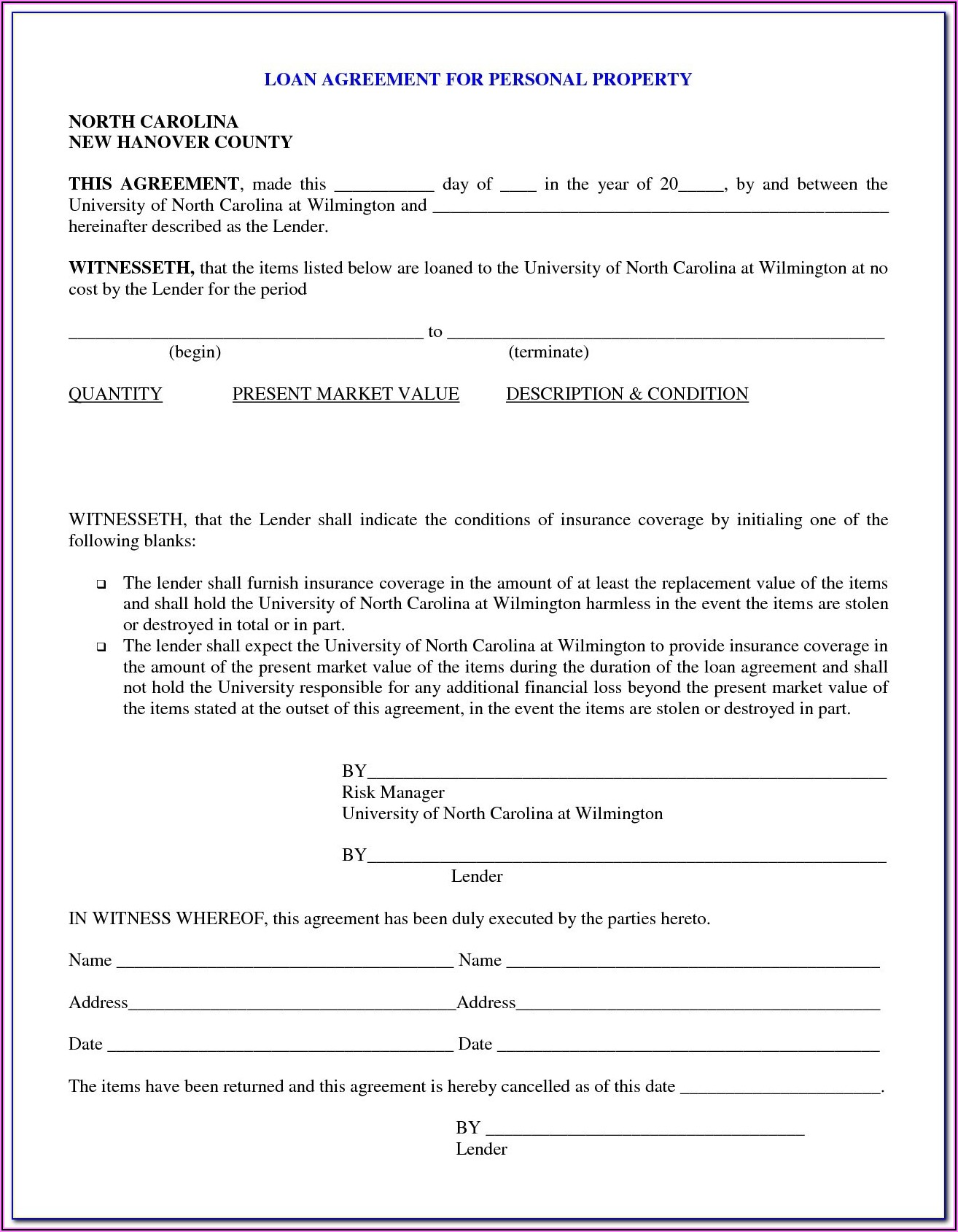 Loan Contract Forms