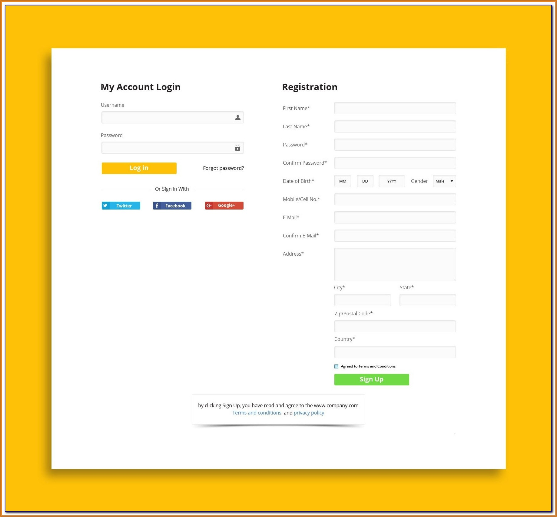 Login And Registration Form In Html Css Template Free Download