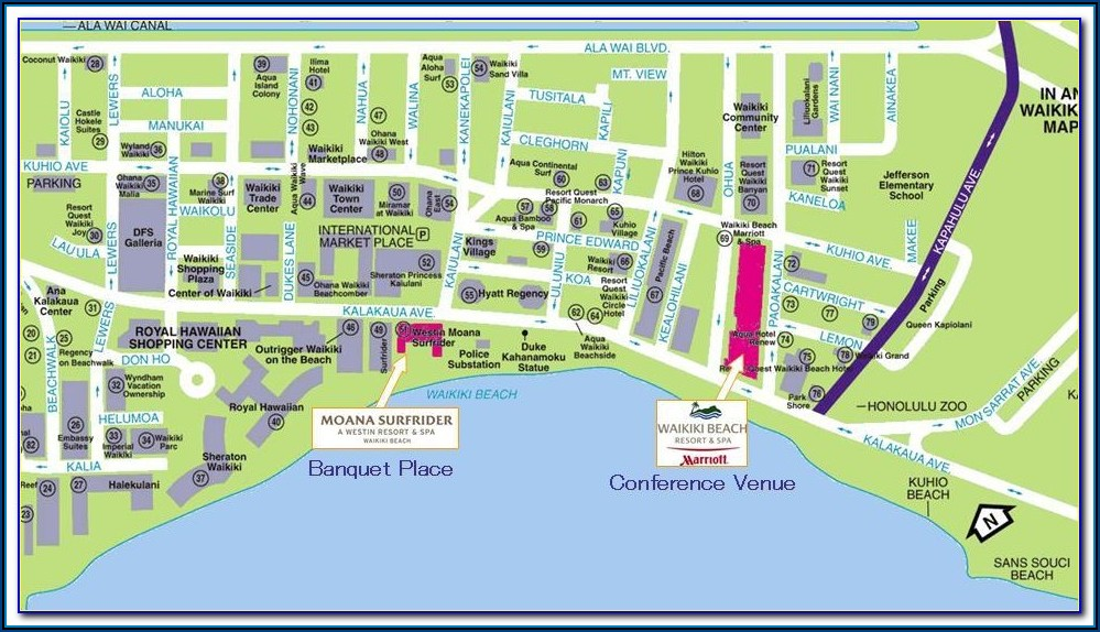 Map Hotels Waikiki Beach Oahu
