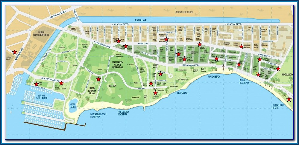Map Of Hotels Along Waikiki Beach