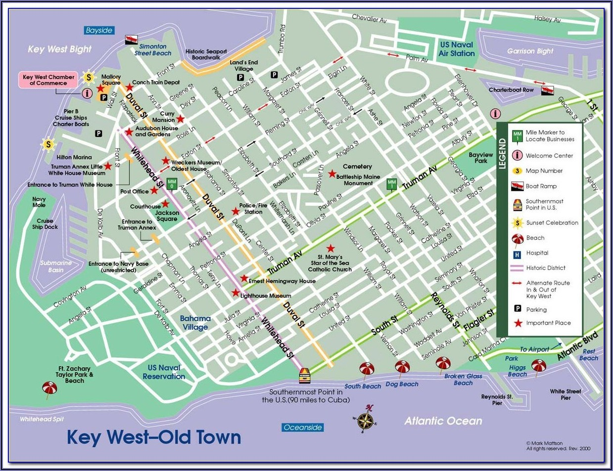 Map Of Hotels In Key West Florida