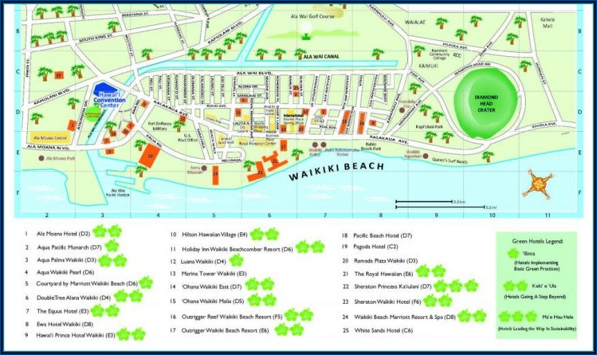Map Of Hotels In Waikiki Beach