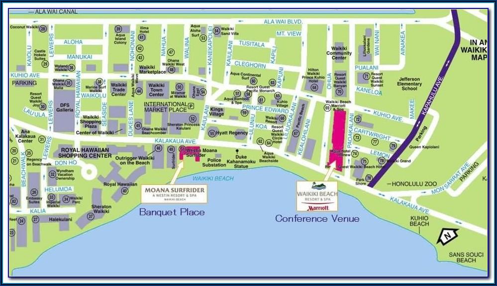Map Of Hotels Waikiki Beach Hawaii