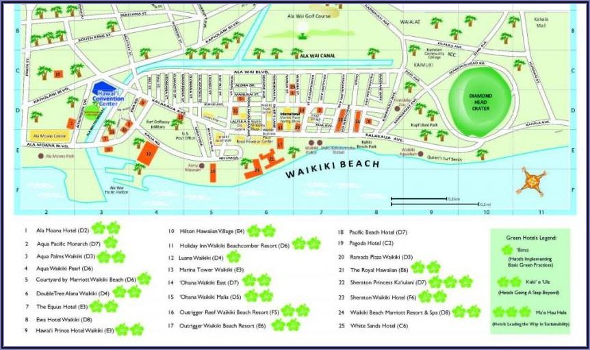 Map Of Hotels Waikiki Honolulu