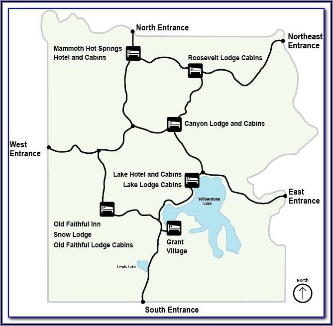 Map Of Lodging Inside Yellowstone National Park