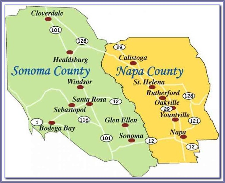 Map Of Sonoma And Napa Valley Wineries