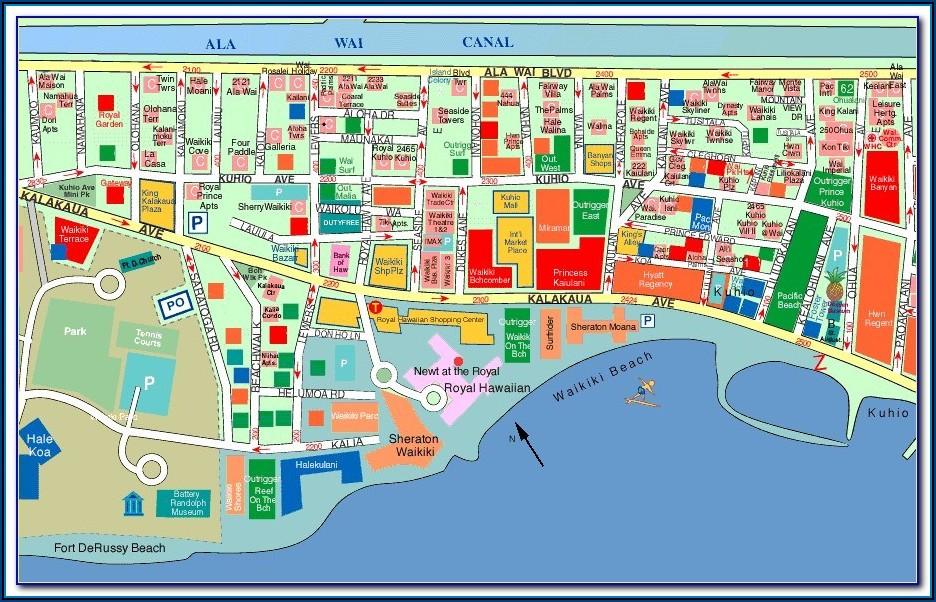 Map Waikiki Beach Hotels