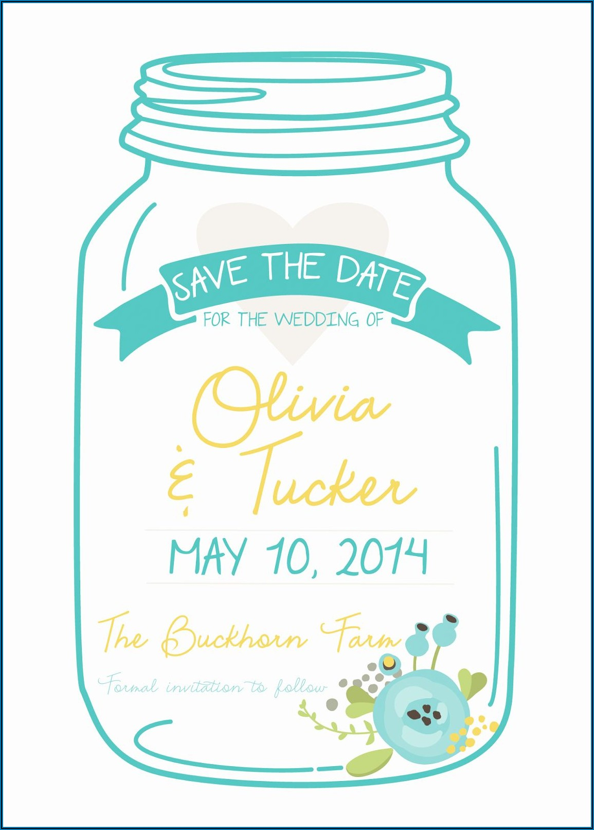 Mason Jar Wedding Invitations Template