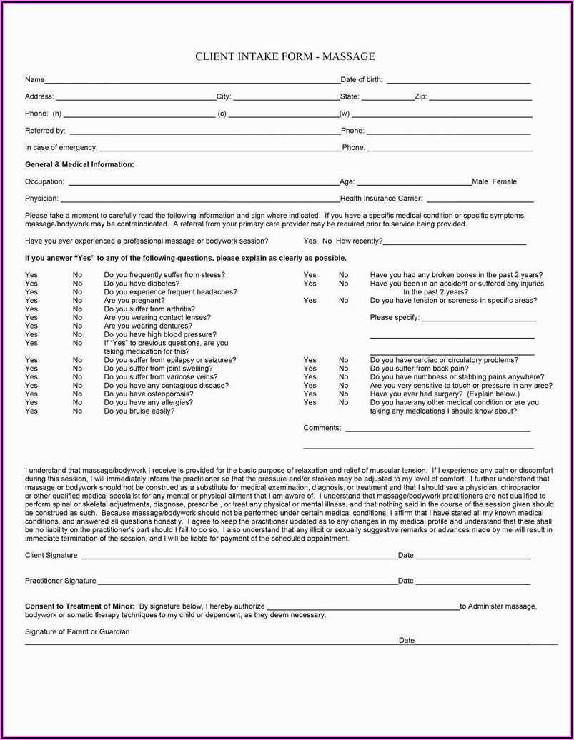 Massage Therapy Intake Forms