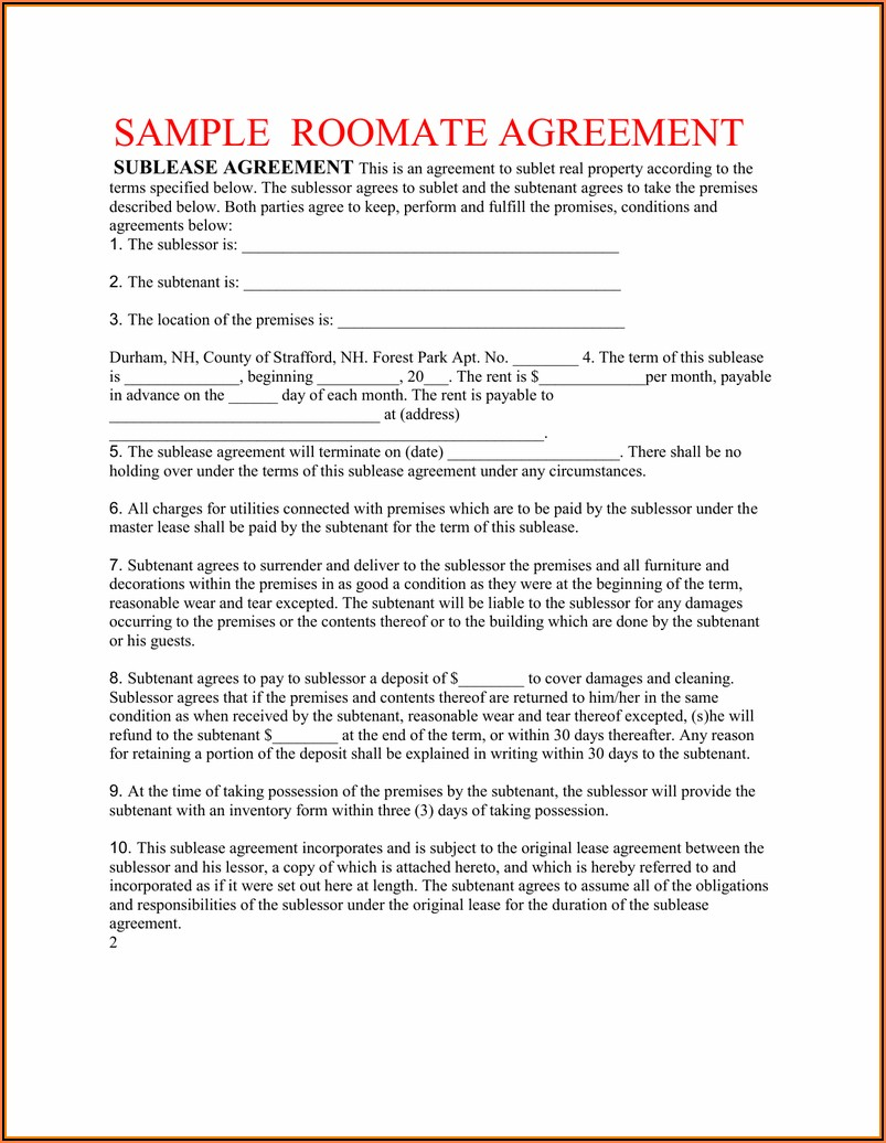 Master Lease Agreement Template Real Estate