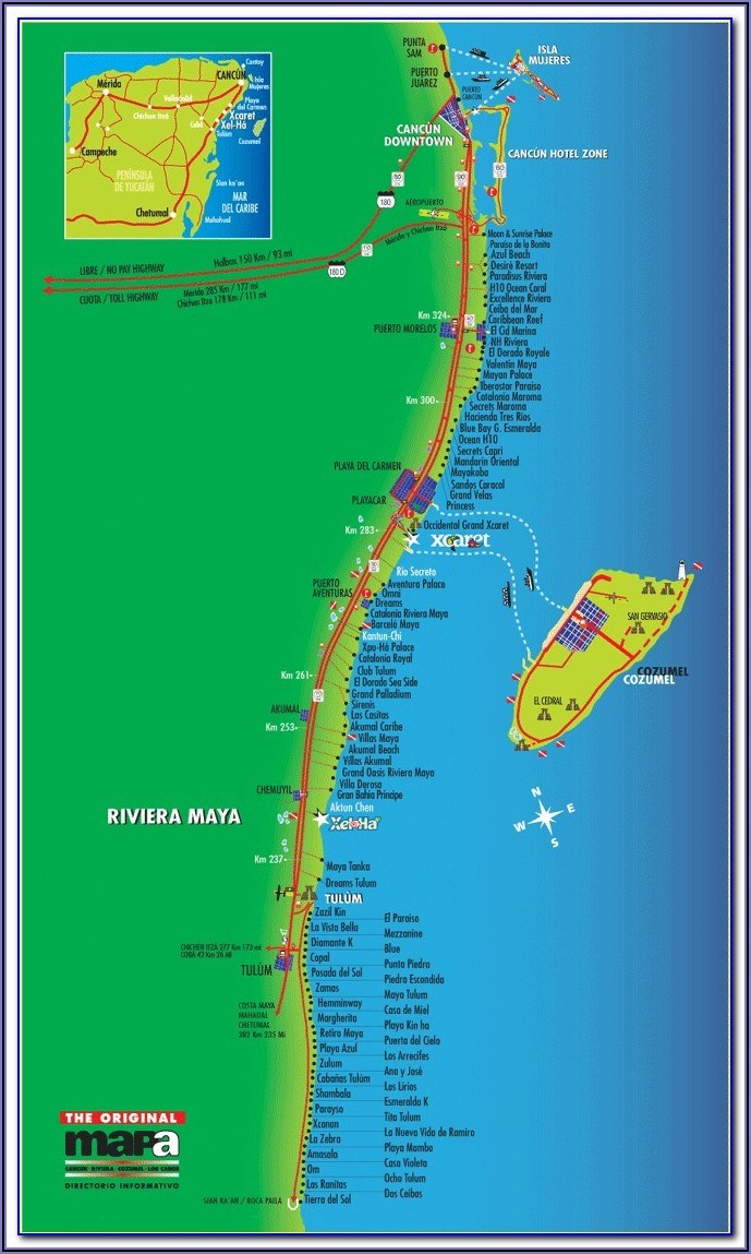 Mayan Riviera Hotel Map Locations