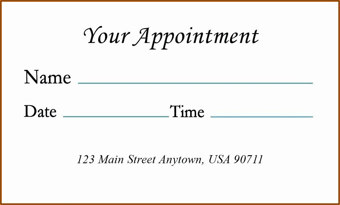 Medical Appointment Card Template Free
