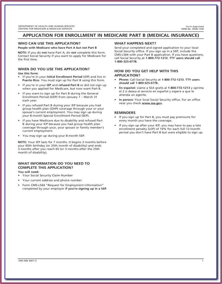 Medicare Part B Form Cms 40b