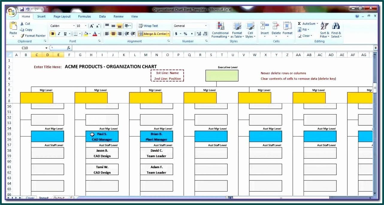 Microsoft Excel Organizational Chart Template