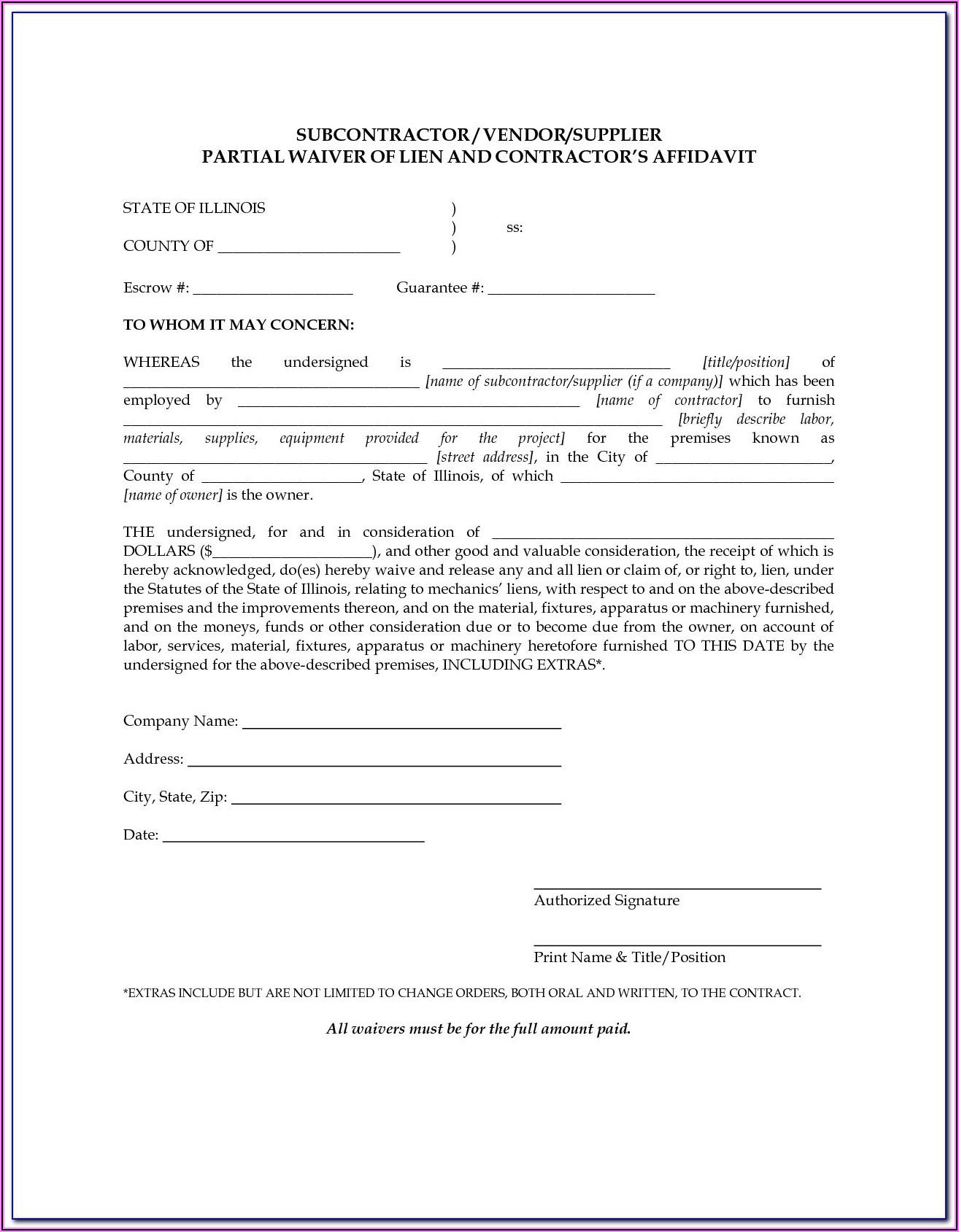Missouri Construction Lien Waiver Form