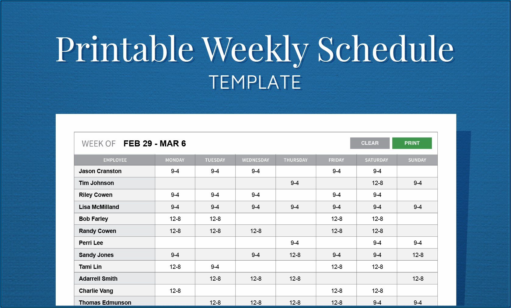 Monthly Employee Schedule Template Word