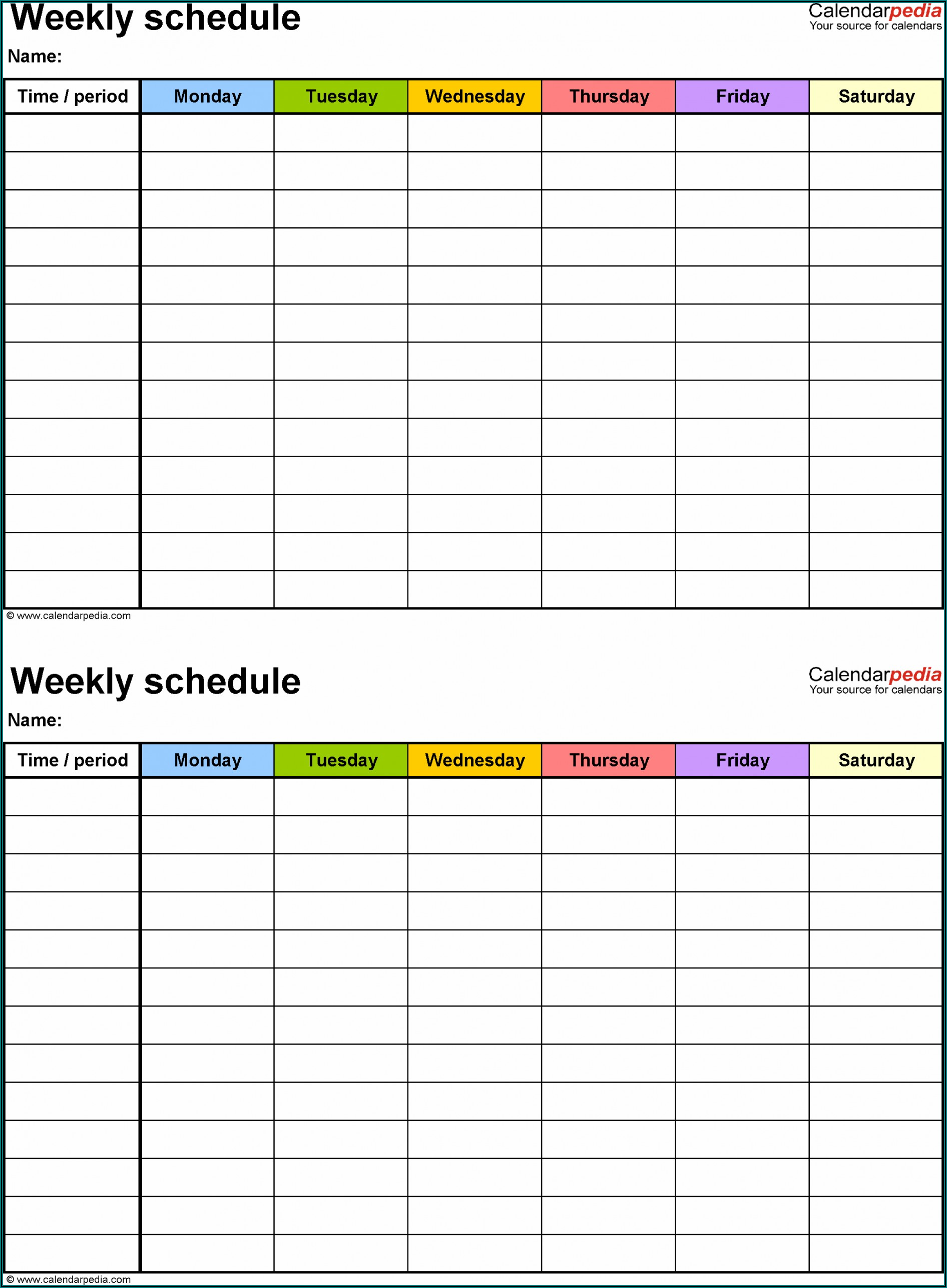 Monthly Schedule Calendar Template Excel